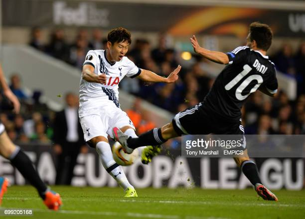 Tottenham Hotspur's Son HeungMin is tackled by Qarabag's Dani Quintana