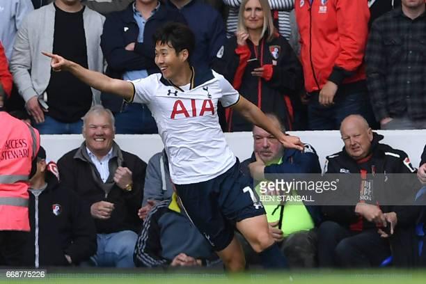 Tottenham Hotspur's South Korean striker Son HeungMin celebrates after scoring their second goal during the English Premier League football match...