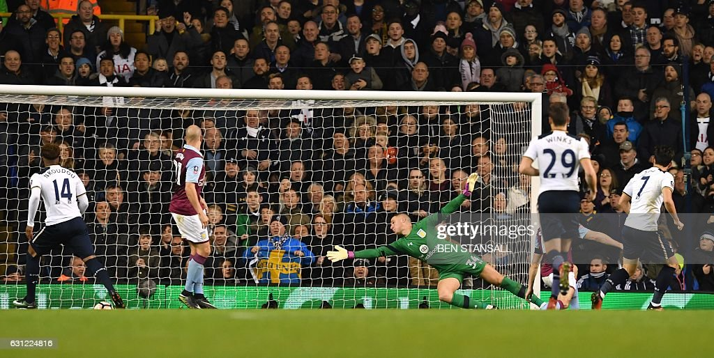 Tottenham Hotspur's South Korean striker Son Heung-Min (R) watches his shot beat Aston Villa's English goalkeeper Sam Johnstone for their second goal during the English FA Cup third round football match between Tottenham Hotspur and Aston Villa at White Hart Lane in London, on January 8, 2017. / AFP / Ben STANSALL / RESTRICTED TO EDITORIAL USE. No use with unauthorized audio, video, data, fixture lists, club/league logos or 'live' services. Online in-match use limited to 75 images, no video emulation. No use in betting, games or single club/league/player publications. /