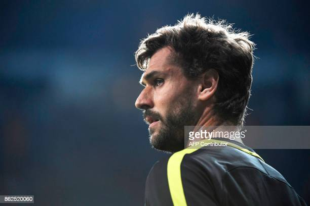 Tottenham Hotspur's Spanish striker Fernando Llorente looks on during a warm up before the UEFA Champions League group H football match Real Madrid...