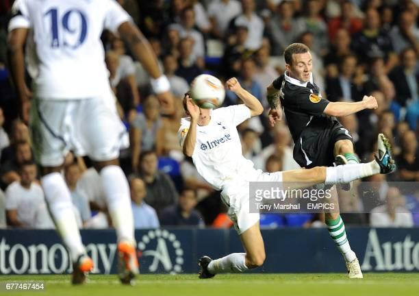 Tottenham Hotspur's Thomas Carroll attempts to block a shot from Shamrock Rovers' Gary McCabe
