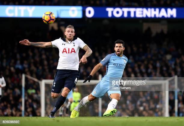 Tottenham Hotspur's Toby Alderweireld and Manchester City's Sergio Aguero