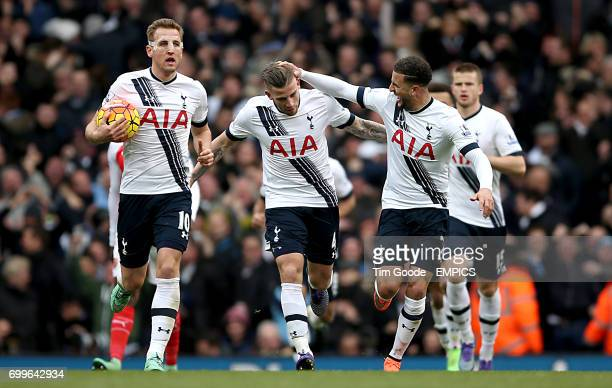Tottenham Hotspur's Toby Alderweireld celebates scoring his sides first goal of the match with teammate Tottenham Hotspur's Harry Kane and Kyle Walker