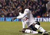 Tottenham Hotspur's Togolese striker Emmanuel Adebayor reacts during the FA Cup fourth round football match between Tottenham Hotspur and Leicester...