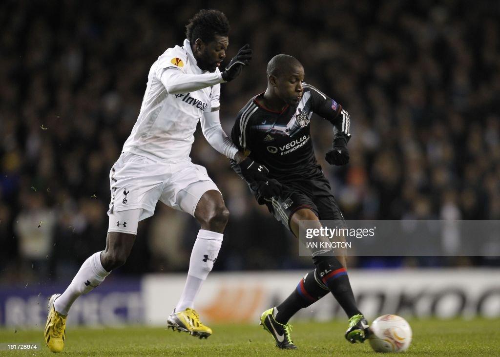 Tottenham Hotspur's Togolese striker Emmanuel Adebayor (L) vies with Lyon's French midfielder Gueida Fofana during a Europa League Round of 32 football match between Tottenham Hotspur and Lyon at White Hart Lane in London, England, on February 14, 2013.
