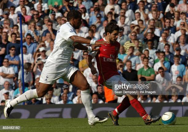 Tottenham Hotspur's Tom Huddlestone and Arsenal's Francesc Fabregas battle for the ball