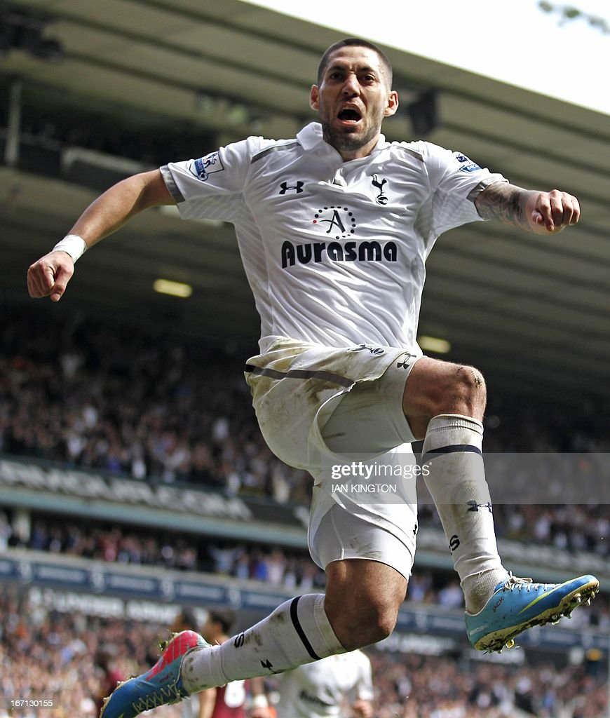 Tottenham Hotspur's US midfielder Clint Dempsey celebrates scoring their first goal during the English Premier League football match between Tottenham Hotspur and Manchester City at White Hart Lane in north London on April 21, 2013. Tottenham won the game 3-1. USE. No use with unauthorized audio, video, data, fixture lists, club/league logos or live services. Online in-match use limited to 45 images, no video emulation. No use in betting, games or single club/league/player publications