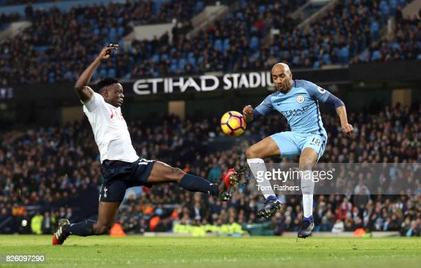 Tottenham Hotspur's Victor Wanyama and Manchester City's Fabian Delph battle for the ball