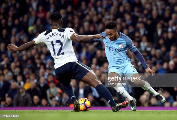 Tottenham Hotspur's Victor Wanyama and Manchester City's Raheem Sterling battle for the ball