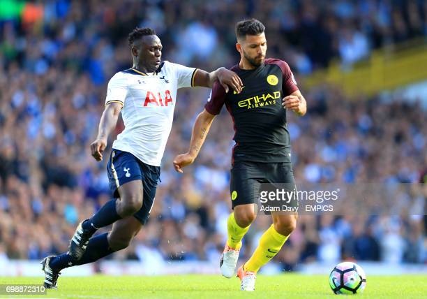 Tottenham Hotspur's Victor Wanyama and Manchester City's Sergio Aguero battle for the ball