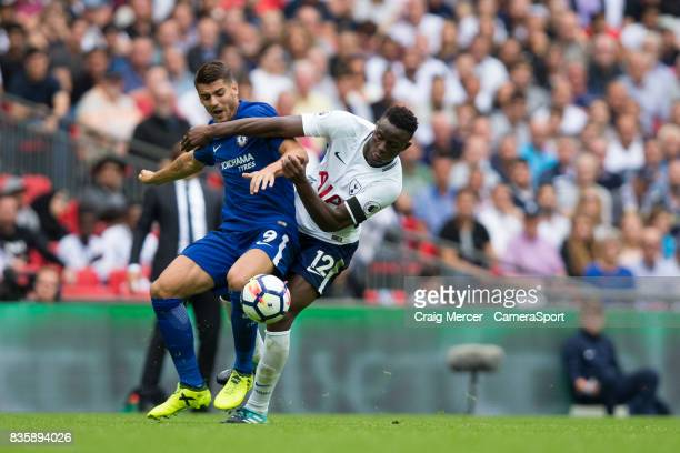 Tottenham Hotspur's Victor Wanyama vies for possession with Chelsea's Alvaro Morata during the Premier League match between Tottenham Hotspur and...