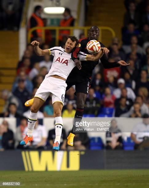 Tottenham Hotspur's Vlad Chiriches and Besiktas' Demba Ba battle for the ball