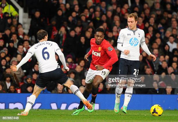 Tottenham Hotspur's Vlad Chiriches and Manchester United's Danny Welbeck battle for the ball