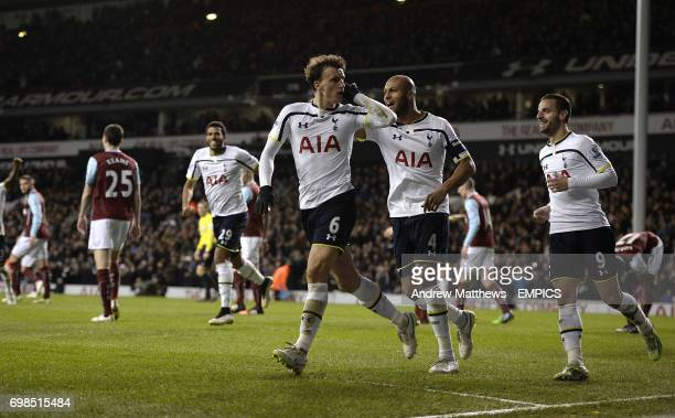 Tottenham Hotspur's Vlad Chiriches celebrates after he heads homes his side's third goal of the game