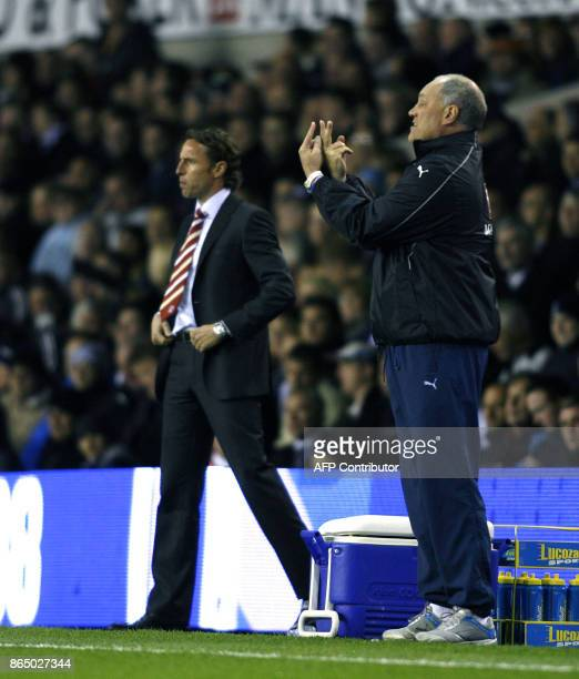 Tottenham manager Martin Jol gives his instructions during the Carling Cup third round match against Middlebrough at White Hart Lane in East London...