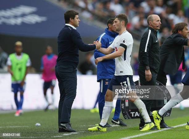Tottenham manager Mauricio Pochettino with Ben Davies after he is substituted during the Premier League match between Tottenham Hotspur and Chelsea...