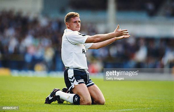 Tottenham player Paul Gascoigne makes a point during the Division One match between Tottenham Hotspur and Chelsea at White Hart Lane on September 16...