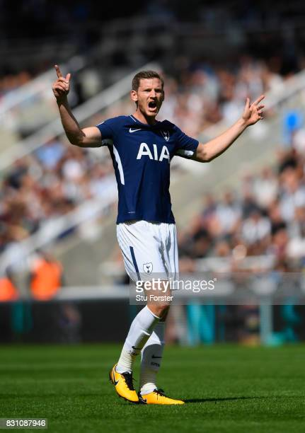 Tottenham player Toby Alderweireld reacts during the Premier League match between Newcastle United and Tottenham Hotspur at St James Park on August...