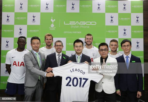Tottenham players Victor Wanyama Harry Kane Eric Dier and Kieran Trippier with Parker Xie of Leagoo Fran Jones of Tottenham Hotspur CEO Johnson...