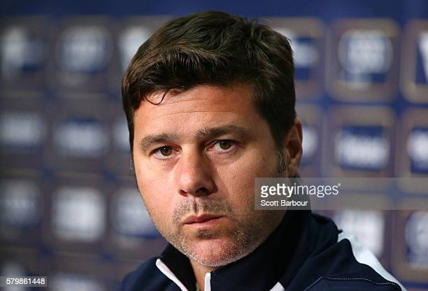 Tottenham Team Manager Mauricio Pochettino looks on during a Tottenham Hotspur training session at AAMI Park on July 25 2016 in Melbourne Australia
