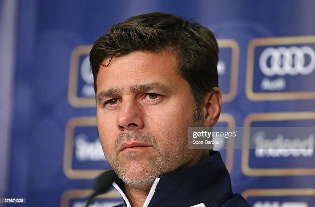 Tottenham Team Manager, Mauricio Pochettino looks on during a Tottenham Hotspur training session at AAMI Park on July 25, 2016 in Melbourne, Australia.