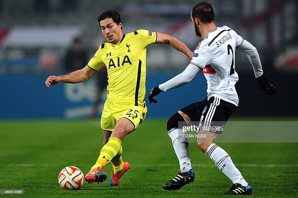 Tottenham's <a gi-track='captionPersonalityLinkClicked' href=/galleries/search?phrase=Benjamin+Stambouli&family=editorial&specificpeople=7133311 ng-click='$event.stopPropagation()'>Benjamin Stambouli</a> (L) vies for the ball with Besiktas' Serdar Kurtulus (R) during the UEFA Europa League Group C football match Besiktas vs Tottenham at Ataturk Olimpic Stadium in Istanbul on December 11, 2014.