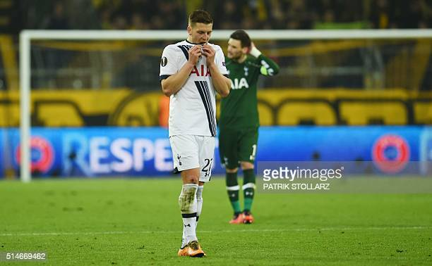 Tottenham´s Kevin Wimmer reacts after the UEFA Europe League Round of 16 first leg football match between Borussia Dortmund and Tottenham Hotspurs in...
