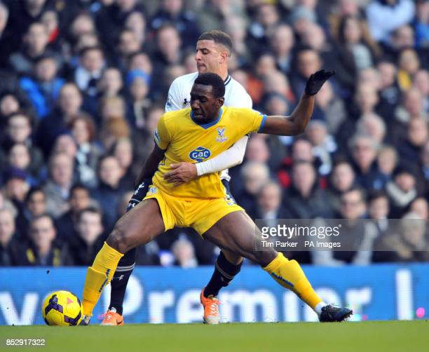 Tottenham's Kyle Walker and Crystal Palace's Yannick Bolasie challenge for the ball during the Barclays Premier League match at White Hart Lane London