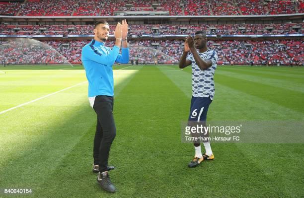 Tottenham's new signings Paulo Gazzaniga and Davinson Sanchez during the Premier League match between Tottenham Hotspur and Burnley at Wembley...