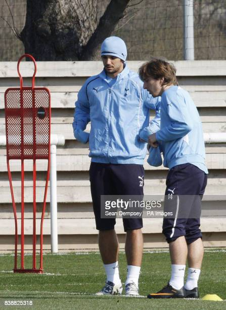 Tottenham's Niko Kranjcar and Luka Modric during the training session at Spurs Lodge London