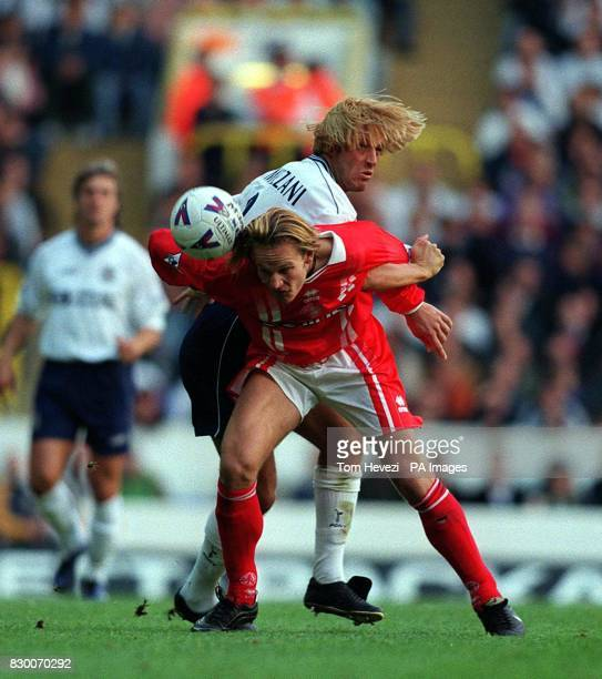 FEATURE Tottenham's Paolo Tramezzani tangles with Middlesbrough's Mikkel Beck during their Premiership match today at White Hart Lane Final score...