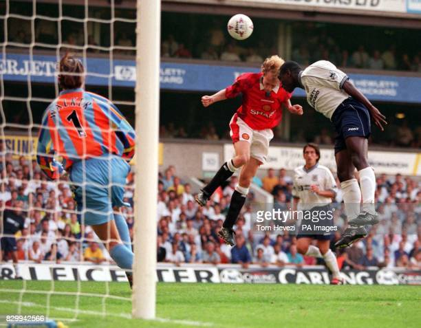 Tottenham's Sol Campbell clears a goal atempt from Manchester United's Jordi Cruyff during today's FA Carling Premiership match at White Hart Lane...