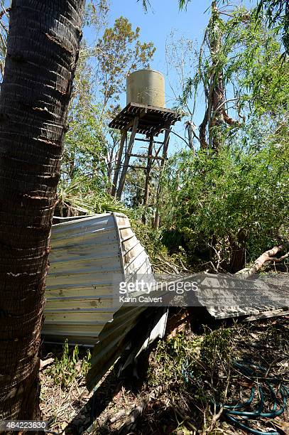Tottering water tower on Ken McLachlans animal refuge property on February 23 2015 in Byfield Australia Ken and his partner Ivy Byrom have run the...