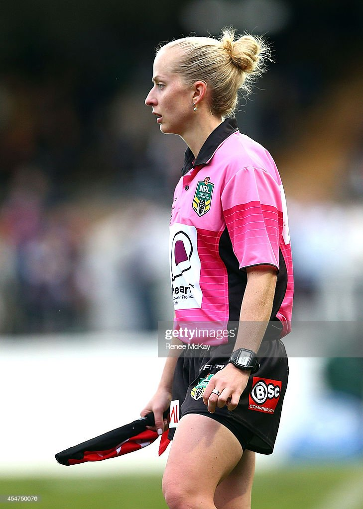 Touch Judge Belinda Sleeman in action during the round 26 NRL match between the Wests Tigers and the Cronulla Sharks at Leichhardt Oval on September 6, 2014 in Sydney, Australia.