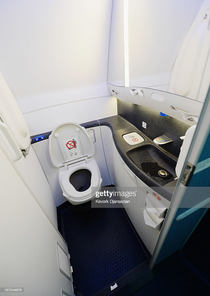 A touch lavatory is seen on the United Airlines Boeing 787 Dreamliner at Los Angeles International Airport on November 30, 2012 in Los Angeles, California. In January the new jet is scheduled to begin flying daily non-stop between Los Angeles International airport and Japan's Narita International Airport and later to Shanghai staring in March. The new Boeing 787 Dreamliner will accommodate 219 travelers with 36 seat in United Business First, 70 seats in Economy Plus and 113 in Economy Class. The carbon-fiber composite material that makes up more than 50 percent of the 787 makes the plane jet and more fuel-efficient.