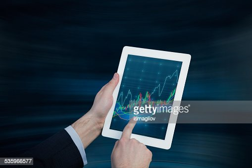touch pad with chart : Stock Photo
