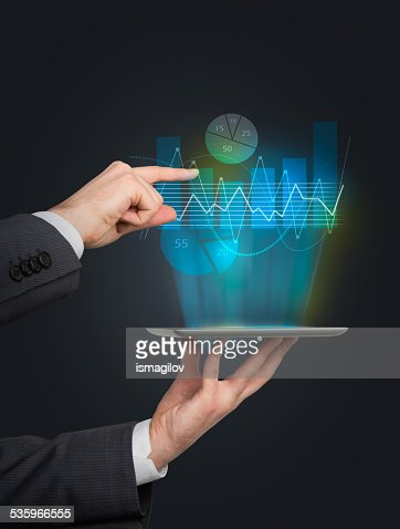 touch pad with charts : Stock Photo