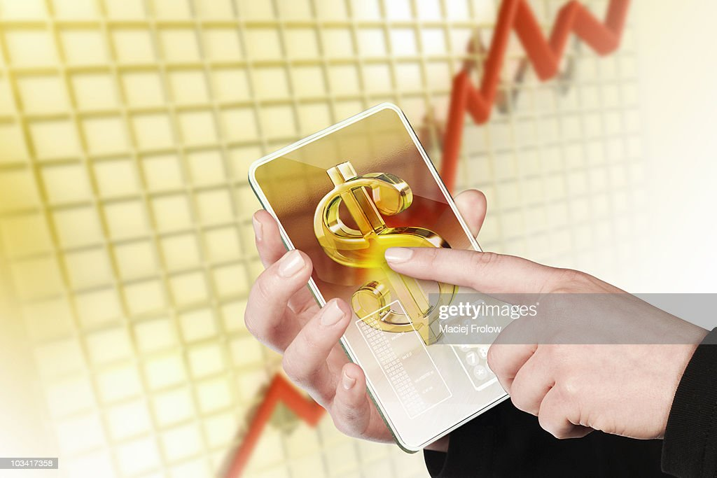 Touch pad with dollar symbol : Stock Photo