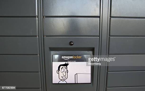 A touch screen monitor is seen on a wall of Amazoncom Inc lockers a selfservice parcel delivery service inside the Lakeview Whole Foods Market Inc...