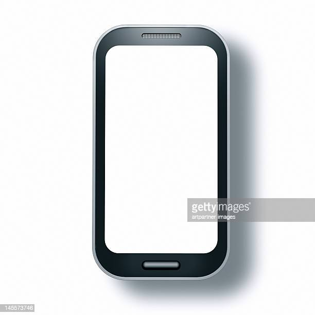Touch screen phone with empty display, on white