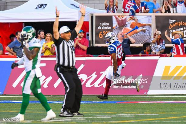 Touchdown Montreal Alouettes wide receiver BJ Cunningham making the score 60 Montreal before transformation during the Saskatchewan Roughriders...