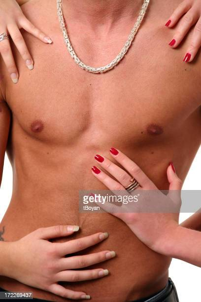 Touching a man