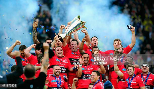 Toulon captain Carl Hayman lifts the trophy and celebrates with team mates after the European Rugby Champions Cup Final between ASM Clermont Auvergne...