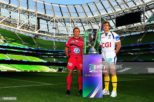 Toulon captain Jonny Wilkinson and Clermont Auvergne captain Aurelien Rougerie pose with the Heineken Cup ahead of the Heineken Cup final match...