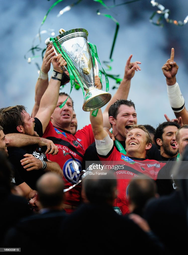 Toulon captain <a gi-track='captionPersonalityLinkClicked' href=/galleries/search?phrase=Jonny+Wilkinson&family=editorial&specificpeople=159417 ng-click='$event.stopPropagation()'>Jonny Wilkinson</a> (r) lifts the trophy with team mates after the Heineken Cup final match between Clermont Auvergne and Toulon at Aviva Stadium on May 18, 2013 in Dublin, Ireland.