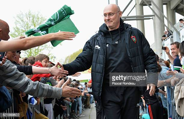 Toulon coach Bernard Laporte arriving at the stadium during the French Top 14 rugby union match between Pau v Toulon at Stade du Hameau on April 16...
