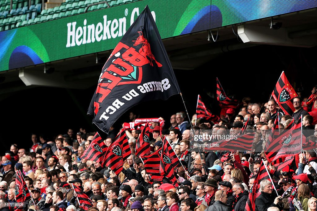 Toulon fans cheer on their team uring the Heineken Cup semi final between Saracens and Toulon at Twickenham Stadium on April 28, 2013 in London, United Kingdom.