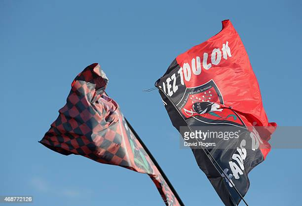 Toulon flags during the European Rugby Champions Cup quarter final match between RC Toulon and Wasps at the Felix Mayol Stadium on April 5 2015 in...