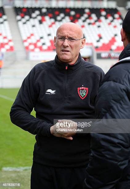 Toulon head coach Bernard Laporte during the European Rugby Champions Cup Pool 3 game at the Kingspan stadium on October 25 2014 in Belfast Northern...
