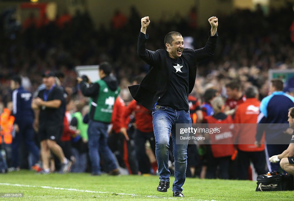 Toulon owner Mourad Boudjellal, celebrates his teams victory during the Heineken Cup Final between Toulon and Saracens at the Millennium Stadium on May 24, 2014 in Cardiff, United Kingdom.
